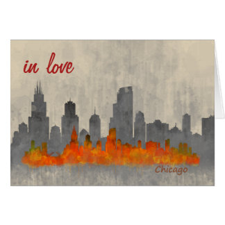 Chicago skyline in watercolor Cityscape In love Card