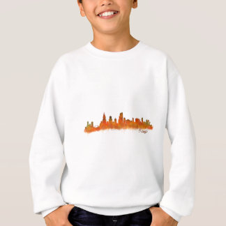 Chicago skyline in watercolor Cityscape Sweatshirt