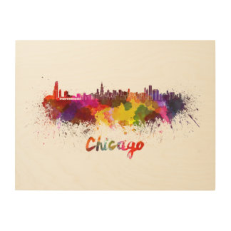 Chicago skyline in watercolor wood wall art