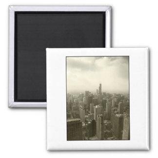 Chicago Skyline Mono Square Magnet