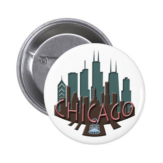 Chicago Skyline newwave chocolate Pinback Button