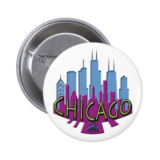 Chicago Skyline newwave cool Pinback Button