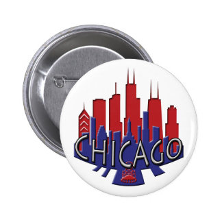 Chicago Skyline newwave patriot Pinback Buttons