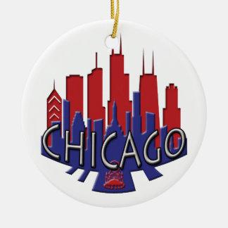 Chicago Skyline newwave patriot Round Ceramic Decoration