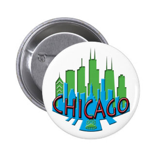 Chicago Skyline newwave primary Buttons