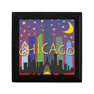 Chicago Skyline nightlife Small Square Gift Box
