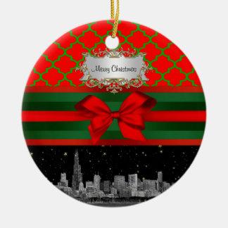 Chicago Skyline, Red Green Quatrefoil Xmas Ceramic Ornament