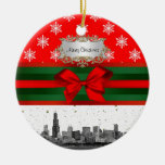 Chicago Skyline Red Snowflake Christmas Round Ceramic Decoration
