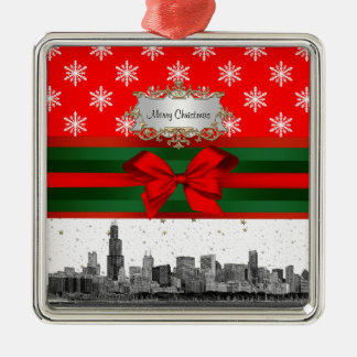 Chicago Skyline Red Snowflake Christmas Silver-Colored Square Decoration
