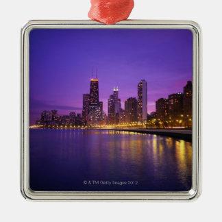Chicago Skyline Silver-Colored Square Decoration