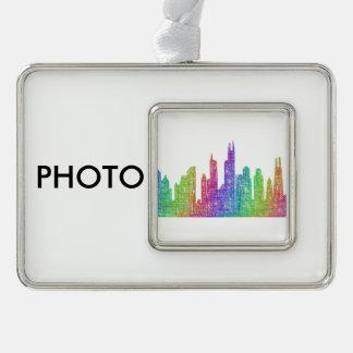Chicago skyline silver plated framed ornament