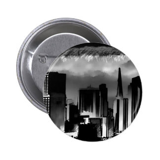 Chicago Skyline Sketch in Black and White Buttons