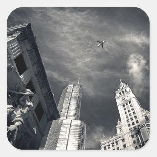 Chicago skyline square stickers