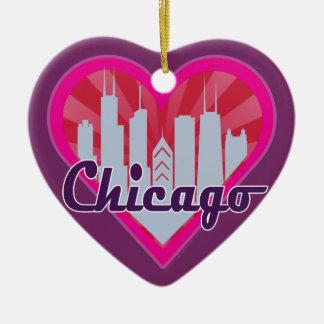 Chicago Skyline Sunburst Heart Ornament