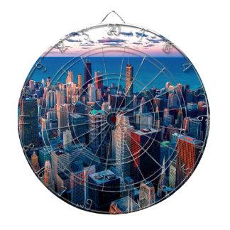 Chicago Skyline Sundown Dartboard
