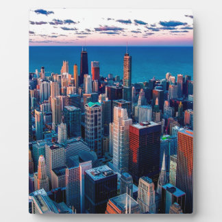 Chicago Skyline Sundown Plaque