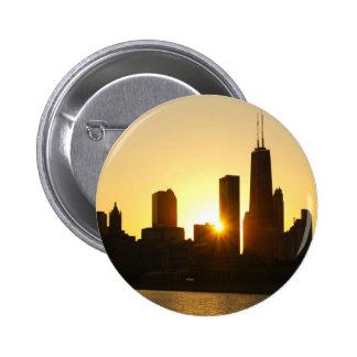 Chicago Skyline Sunset Button