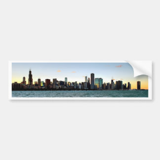 Chicago Skyline Sunset Bumper Sticker