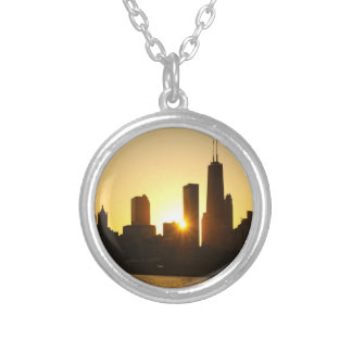 Chicago Skyline Sunset Round Pendant Necklace