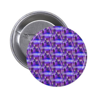 Chicago Skyline Urban Art in Purple and Blue Pinback Buttons