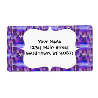 Chicago Skyline Urban Art in Purple and Blue Shipping Label