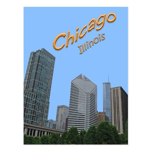 Chicago Skyline Visible From Grant Park Post Card