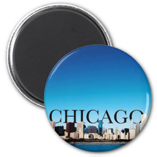 Chicago Skyline with CHICAGO in the Sky 6 Cm Round Magnet