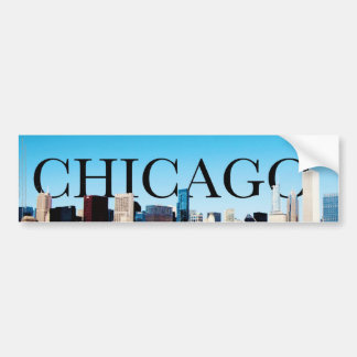Chicago Skyline with CHICAGO in the Sky Car Bumper Sticker