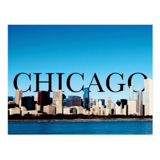 Chicago Skyline with CHICAGO in the Sky Postcard