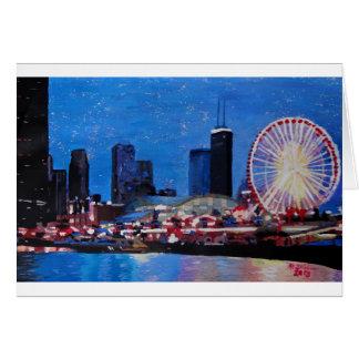 Chicago Skyline with Ferris Wheel Greeting Card