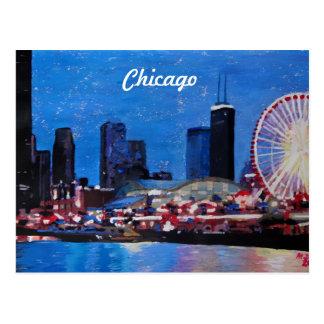 Chicago Skyline with Ferris Wheel Postcards