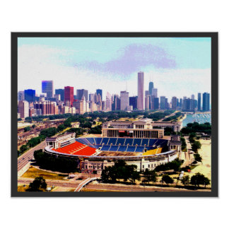 Chicago Skyline Wrigley Field Poster