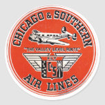 Chicago & Southern Air Lines logo Round Stickers