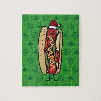 Chicago style hot dog Christmas Santa hat Jigsaw Puzzle
