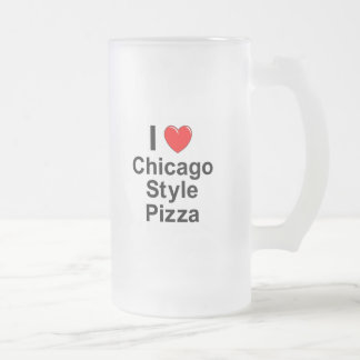 Chicago Style Pizza Frosted Glass Beer Mug