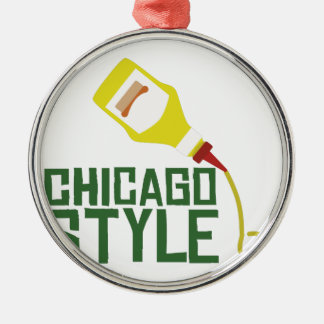 Chicago Style Silver-Colored Round Decoration