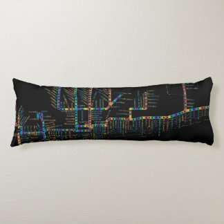 Chicago Subway Map w/ Train stops COLOR TIE DYE Body Cushion