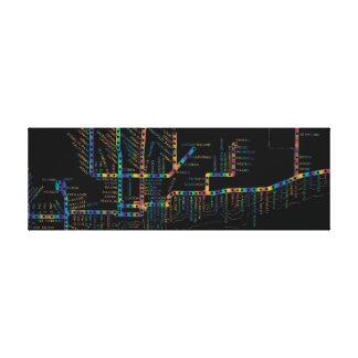 Chicago Subway Map w/ Train stops COLOR TIE DYE Canvas Print