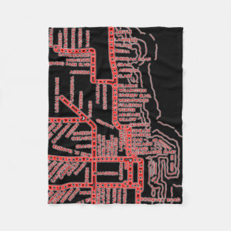 Chicago Subway Map w/ Train stops colorful red Fleece Blanket