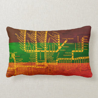 Chicago Subway Map w/ Train stops colorful vintag Lumbar Cushion