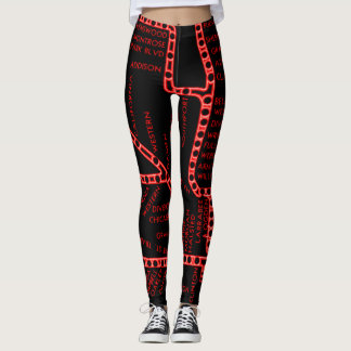 Chicago Subway Map w/ Train stops NEON RED 2 Leggings