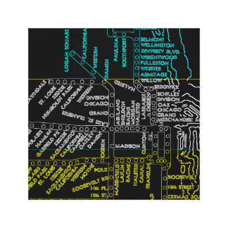 Chicago Subway Train Vintage System Map Route NEON Canvas Print