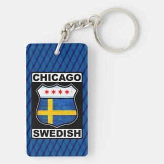 Chicago Swedish American Keyring Double-Sided Rectangular Acrylic Key Ring