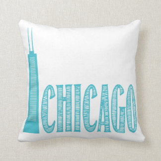 Chicago, Teal and White, Decorative Pillow