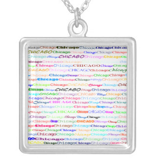 Chicago Text Design II Square Necklace