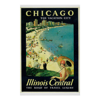"""Chicago - The Vacation City"" Vintage Poster"