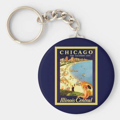 Chicago ~ The Vacation City ~ Vintage Travel Key Chain