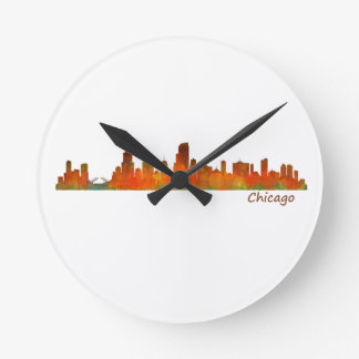 Chicago U.S. Skyline cityscape Round Clock