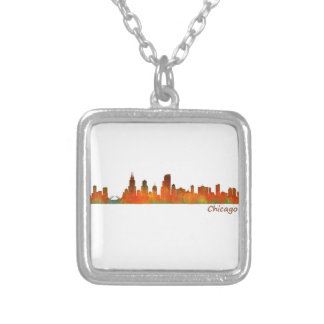 Chicago U.S. Skyline cityscape Silver Plated Necklace