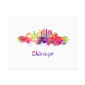 Chicago V2 skyline in watercolor Canvas Print